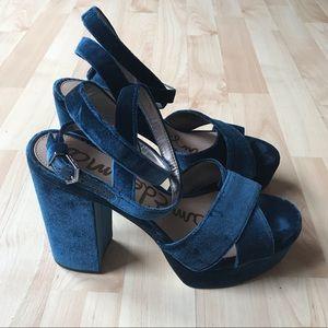 674299128d2 Sam Edelman Shoes - Sam Edelman Blue Velvet Platform Size 9